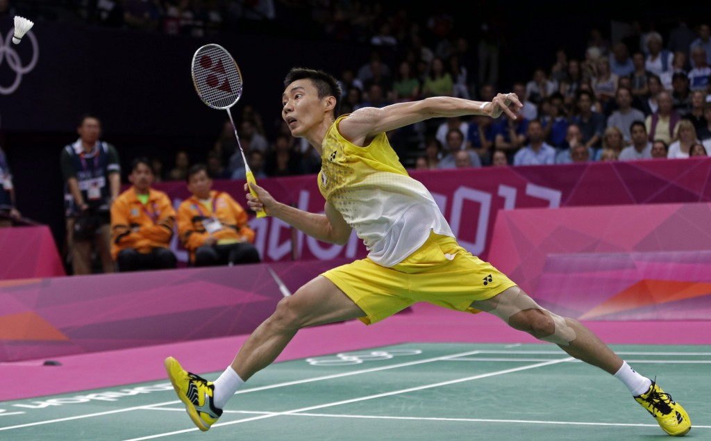 Malaysia's Lee Chong Wei plays against India's Kashyap Parupalli in a men's singles badminton quarterfinal match at the 2012 Summer Olympics, Thursday, Aug. 2, 2012, in London. (AP Photo/Andres Leighton)